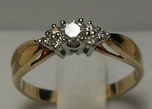 Vintage - 14kt Yellow Gold Diamond Engagement Ring - Size 9