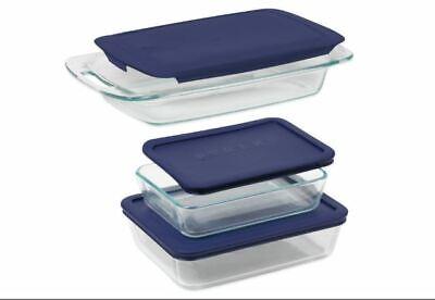 Pyrex Kitchen Baker Set 6 Piece Lid Glass Easy Grab Bakeware Baking Dish BPA