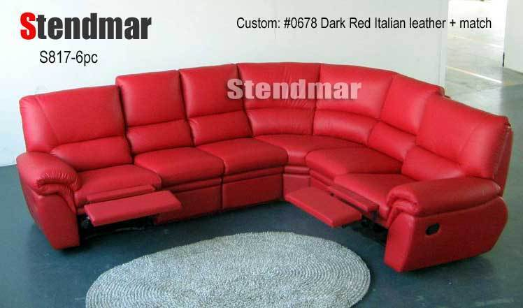 6PC NEW MODERN LEATHER SECTIONAL SOFA 2-RECLINERS S817