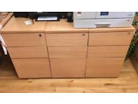 3x Office wooden chests with locking feature (Can deliver) LIKE NEW