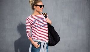 ANTHROPOLOGIE WEEKEND STRIPED TEE-NEW!