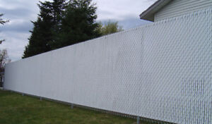 White chain link fence privacy slats 6' length
