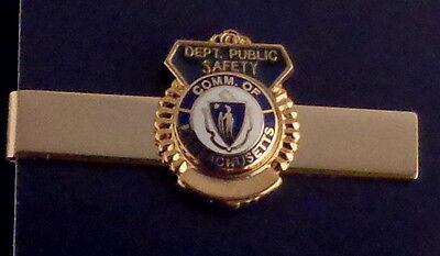 Commonwealth of Massachusetts DEPT. PUBLIC SAFETY Gold Mini Badge Tie Bar MA DPS