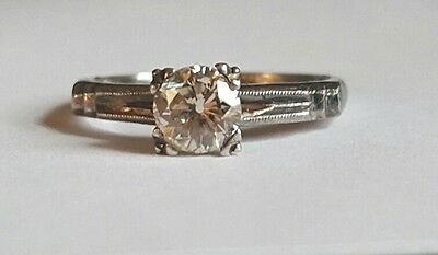 14k white gold Vintage  Diamond ring OLD MINE CUT ROUND 0.62ct  SI1