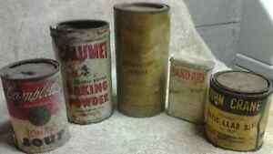 5 Antique Tin metal Can Cans Lot Advertisement