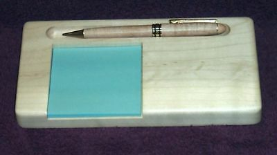 Solid Maple Postit Note Pad Holder With Pen Slot