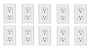 10 NEW Duplex Receptacle Outlet White Decor Design with Wall Plate 15 Amp
