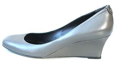 new GUCCI gray leather GG logo WEDGES shoes 39.5 US 9.5 - comfortable