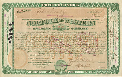 1884 Norfolk and Western Railroad stock certificate