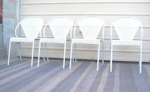 Four Rugged White Metal Chairs..Plus Inala Brisbane South West Preview