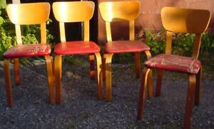 Mid-Century Modern Thonet-style Bentwood Dining Chairs Set of 4.