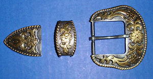 Western Cowboy Silver/Gold Plated Rope Belt Buckle Set