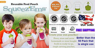 Reusable Squeeze Pouches 25 Count Fresh New Baby Food Station Feeding Puree