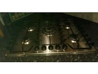 Stainless steel 5 burner gas hob & free oven