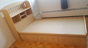 Single Wood Bed Frame + Mattress