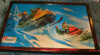 Snowmobile -1960's Schmidt's beer ad -mounted & ready to display