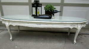 "TODAY SALE - 60"" WIDE VINTAGE SHABBY CHIC OVAL COFFEE TABLE"