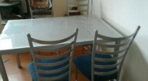 Frosted glass top table with 4 chairs