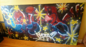 LARGE GRAFFITI ART BOARD PAINTING MURAL - 4 FT TALL BY 8 FT WIDE