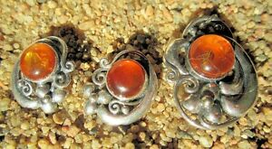 Amber Sterling Silver Brooche & Earrings