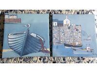 Harbour nautical pictures x 2 canvas block pictures 300 x 300 mm