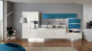 100% Italian-made Kitchen cabinets, pantry, island.