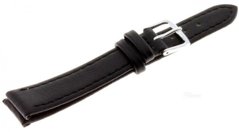 Lederband günstiges Damen Uhren Armband echt Leder Basic 140-sw schwarz