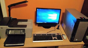 """Lenovo Computer (with WiFi), 22"""" Monitor, and All-in-One Printer"""