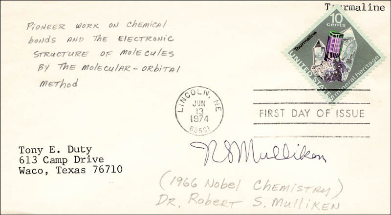 Robert S. Mulliken - First Day Cover Signed