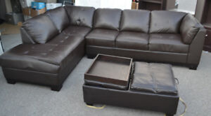 Sectional Leather Couch / Sofa With Ottoman Storage