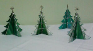 """Stained Glass Christmas Tree -- Hand Made -- Approx. 4""""- 6"""" high"""