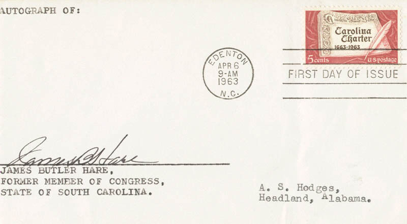 JAMES BUTLER HARE - FIRST DAY COVER SIGNED