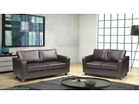 WOW CHRISTMAS SALE!! BRAND NEW 3 SEATER AND 2 SEATER BOX SOFA IN BLACK AND BROWN FAUX LEATHER