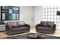 ESPRESSO BROWN OR BLACK - NEW FAUX LEATHER 3+2 BOX SOFA **SAME DAY EXPRESS DELIVERY ALL OVER LONDON