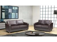 ***SAME DAY FAST DELIVERY***BRAND NEW 3 SEATER AND 2 SEATER BOX SOFA IN BLACK AND BROWN FAUX LEATHER