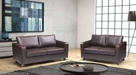 BRAND NEW -- NEW FAUX LEATHER 3+2 BOX SOFA **SAME DAY EXPRESS DELIVERY ALL OVER LONDON