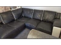 Corner sofa black leather