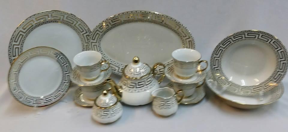 NEW 47pc GOLD PORCELAIN CHINA DESIGNER DESIGN DINNER SET & NEW 47pc GOLD PORCELAIN CHINA DESIGNER DESIGN DINNER SET | in ...