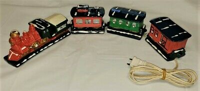Merry Christmas Light-up Train Set by Mann - lights included and working w/box