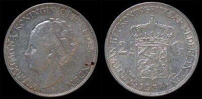 Nederland Wilhelmina I 2 1/2 gulden(rijksdaalder)1938