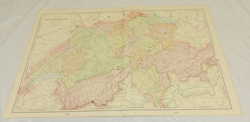 1904 Antique Cram COLOR Map/SWITZERLAND/Large 14x22""