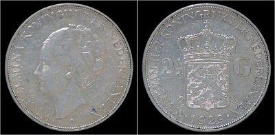 Nederland Wilhelmina I 2 1/2 gulden(rijksdaalder)1929