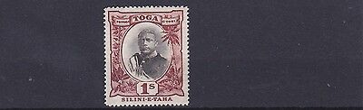 TONGA  1897     S G  50     1/- BLACK & BROWN  MH DISTURBED GUM