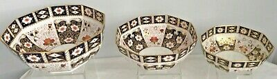 EXTREMELY RARE SET OF 3 ROYAL CROWN DERBY 2451 STACKING CENTREPIECE BOWLS - Derby Centerpieces