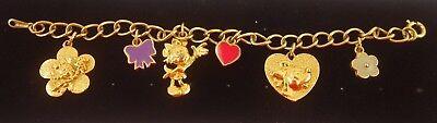 Vintage Disney Minnie Mouse & Me Best Friend CharmsBracelet Gold Tone