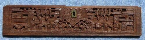 """Vintage 9½"""" Hand Carved Hardwood Cabinet Village Scene Piece *VG*"""