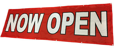Now Open Banner Sign Vinyl Alternative Store Sale 3x10 Ft - Fabric Rb