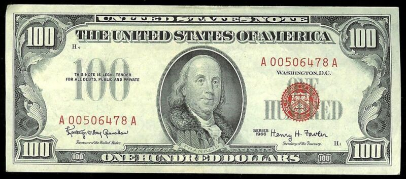 1966 $100 RED SEAL UNITED STATES BANK RED SEAL NOTE FR 1550 XF+ CONDITION