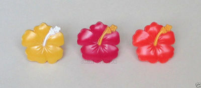 12 Hibiscus Flower Tropical Luau Cup Cake Ring Topper Birthday Party Bag Favor  - Tropical Cupcakes