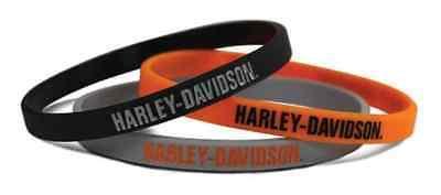 Harley-Davidson H-D Script Silicone Wristbands, 3 Pack Black/Orange/Gray WB51664